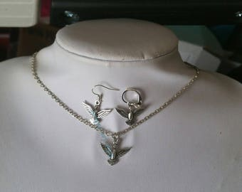 Tiny 3D Silver Flying Bird Charm Necklace and/or Earrings Set on Silver Crossed Chain; Hooks or Leverbacks. Raven, Nature, Wiccan, Pagan