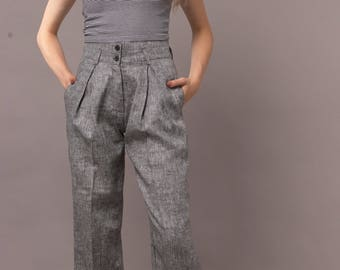 Womens  Linen Regular  Hight Waist, Pleated  Pants. Plus Size.