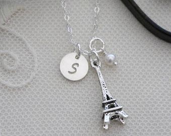 Eiffel Tower Necklace, Paris Necklace, Personalized Eiffel Tower Necklace, Personalized Paris Gift, Initial Birthstone, Custom, Dainty