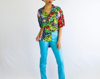 90's Teal Vegan Leather Pants // Tark'1 Paris // Vintage Pants, Vintage Trousers, leather Trousers, 90s Vintage, designer