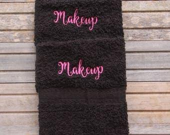 makeup washcloth, black makeup towel, embroidered bath wash cloth, monogrammed bath wash cloth, embroidred hand towel