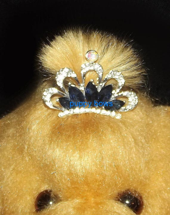 Puppy Bows ~ Pink or blue tiara rhinestone dog pet hair clip barrette  ~USA seller