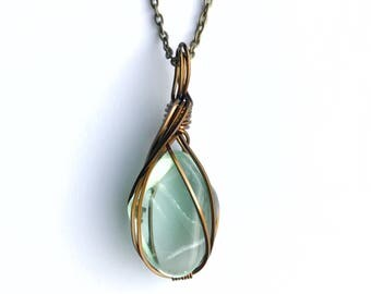 Blue Green Fluorite Necklace Wire Wrapped Pendant in Copper Wire with Antique Brass Finish