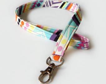 Geometric Lanyard / 80s Print / Colorful Keychain / Cute Lanyards / Key Lanyard / ID Badge Holder / Fabric Lanyard