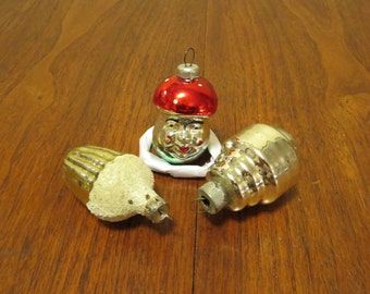 3 vintage 1950s glass figure Christmas tree ornaments decorations red green gold silver frosted top acorn mushroom (111717)