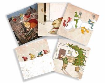 Christmas cards set of 5