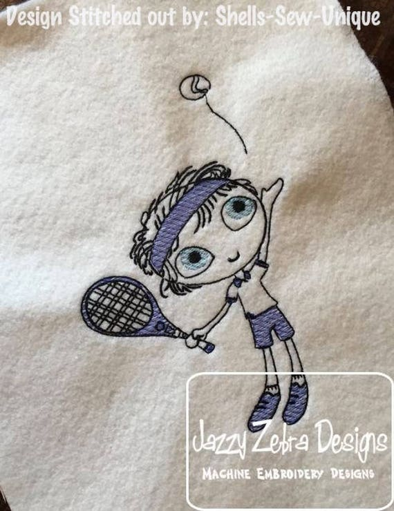 Swirly boy tennis player sketch embroidery design - tennis embroidery design - sketch embroidery design - sport embroidery design - school