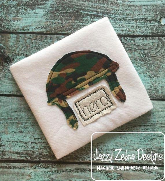 Hero Military helmet shabby chic appliqué embroidery design - military appliqué design - army appliqué design - shabby chic appliqué design