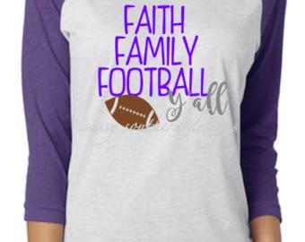 Football Y'all-Football Shirt-Friday Night Lights Shirt-Faith Family Football-Football Mom-Cheerleader-Football Cheer-Cheer Mom-Football Fan