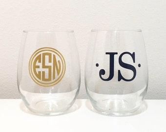 Monogram Stemless Wine Glass, Personalized Wine Glass, Monogrammed Glass, Monogram Gift Idea, Wine Gift, Custom Wine Glass, Monogram Gift