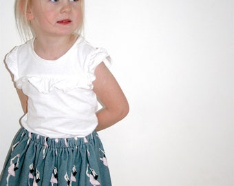 Balerina girl skirt, girl cotton skirt, balerina print skirt, baby tricot skirt, shower gift, little dancer skirt, toddler girl skirt