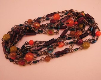 Pretty Muted Tones Glass Bead Necklace c1970-80s
