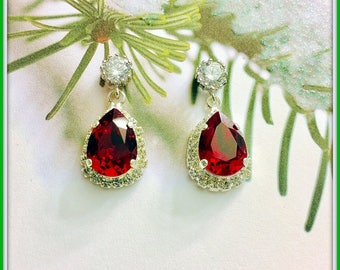 Bridesmaids Jewelry Set,Christmas CZ Earrings and Sterling Necklace,Brilliant Swarovski Red Siam Crystals,Bridesmaids Gifts,Holiday Jewelry