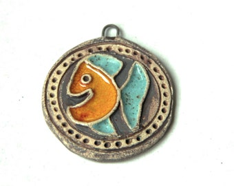 HAPPY FISH stoneware pendant, ceramic pendant - handmade jewelry components