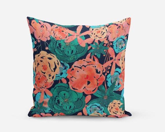 Navy And Pink Decorative Pillows: Floral Pillow Cover Throw Pillow Cover Navy Coral Blue Pink