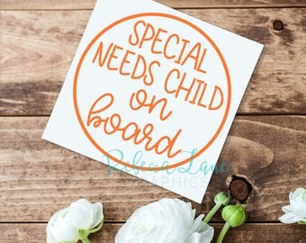 Special Needs Child on Board | Car decal | Medical Alert | Awareness