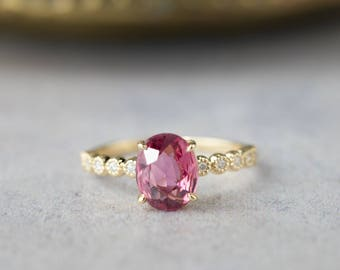 14k gold large pink tourmaline alternative engagement ring, unique oval pink tourmaline diamond engagement ring, bri-r101-ov9mm-ptou RTS