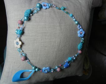 long light blue and pink necklace