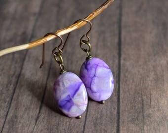 Stone Earrings, Minimalist Earrings, Purple Earrings, Gift Under 20 Dollar, Gift For Her, Handmade Earrings, Bohemian Earrings, Vintage