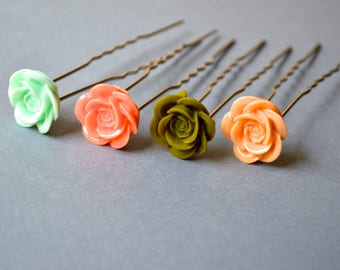 Mint Rose Hair Fork. Pink Orange Green Hair Fork. Wedding Accessory. Pastel Color Hair Fork. Bridesmaid Hair Fork. Gift For Her. Under 25.