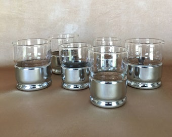 Hellerware Glasses, Chrome and Glass, Whiskey Glass, Vintage Barware, Cork Insert Glasses, Silver Glass Holders, Mid Century Bar