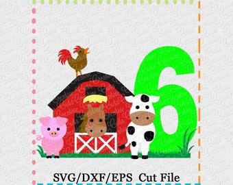Barn with Animals Birthday 6 svg cutting file, farm animals svg, horse svg, cow svg, pig svg, barn svg, farm svg, 6th birthday, farm animals
