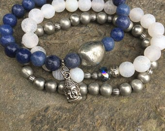 SET of  3 blue aventurine beads buddha white frosted agate stone stackable  stretch yoga bohemian  bracelets