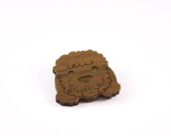 Poodle Wooden Pin