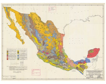 Geologic Map of Mexico Print
