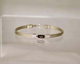 Smoky Topaz - Sterling Silver (Argentium) Wire Wrap Bracelet