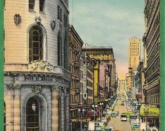 Vintage Linen Postcard - Looking up Powell Street Showing Cable Car Turntable in San Francisco, California  (3205)