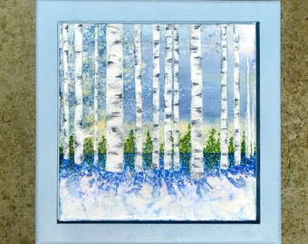 """Framed Encaustic and Alcohol Ink Painting on Canvas Board - Birch Trees with Shadows on a Snowy Winter Day - 8"""" x 8"""""""