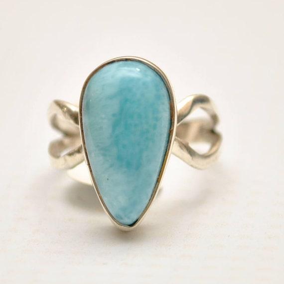 Sterling Silver Larimar Teardrop Ring Sz 8  #9352