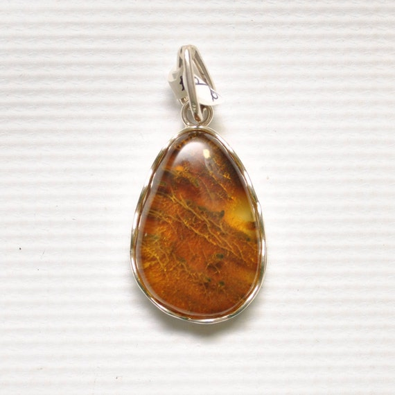 Sterling Silver Green Amber Pendant #9335
