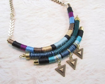 Tribal necklace,Thread necklace, multi strand necklace,African necklace,Rope Necklace,ethnic necklace,OOAK necklace,aztec necklace