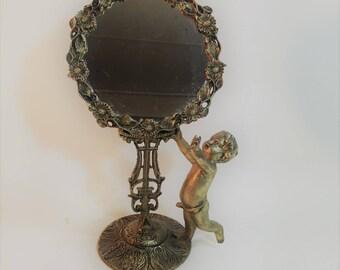 """Vintage Ornate Brass Art Nouveau Cherub Design Vanity Mirror 12"""" Tall"""