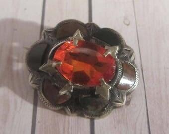 Vintage Scottish brooch, Agate silver brooch, citrine agate pin, Silver Scottish antique orange brooch ,Scottish agate jewellery, Silver pin