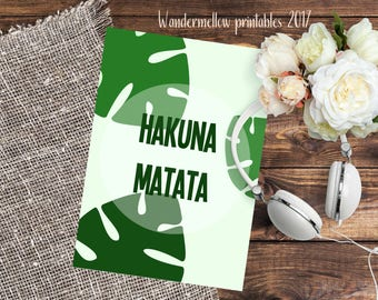 Hakuna matata! Brand NEW Quote Printable for home, dorm and office decor!  Back to school art, gift printable, disney quotes
