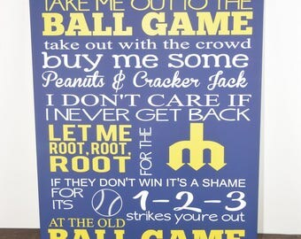 Take me out to the ball game - baseball sign - softball sign - baseball art - baseball decor - custom baseball sign - ball game sign