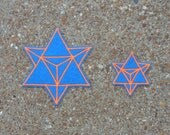 Sacred Geometry Merkaba Patch Set, Blue and Orange, Festival Patch, Handmade with Love