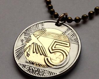 2015 Peru 5 soles coin pendant Peruvian mysterious Nazca lines Condor bird ancient geoglyphs UFO UNESCO charm necklace jewelry n001319