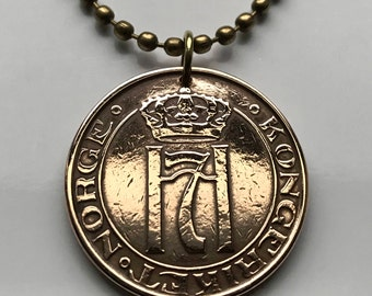 1937 or 1951 Norway 5 ore coin pendant Norwegian Oslo initial H Scandinavian number 7 crowned Nordic Norse Viking necklace n000920
