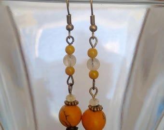 Orange African Bead Earrings with Citrine