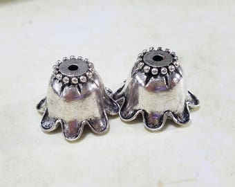 Antique, Silver, Bead Cap, Bell, Cap, Flower, Floral, Extra Large, Steampunk, Finding, Jewelry, Beading, Supply, Supplies