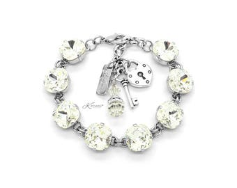 CRYSTAL CLEAR 12mm Cushion Cut Pendant Bracelet Made With Swarovski Crystal *Pick Your Finish *Karnas Design Studio *Free Shipping*