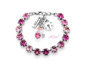 RASPBERRY SWIRL 8mm Bracelet Made With Swarovski Crystal *Choose Your Finish *Karnas Design Studio™ *Free Shipping
