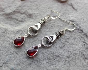 Antique Silver Hand Earrings / Red Garnet Earrings / Victorian Style Earrings / Hamsa + Mano Fico + Figa + Amulet Red Gemstone Earrings