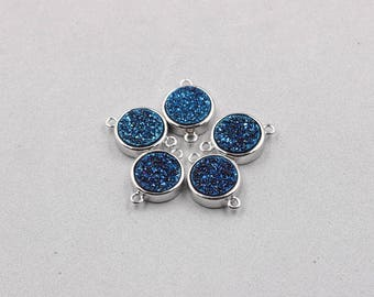 10mm Quartz Druzy Bezel Connectors -- With Electroplated Silver Setting Edge Druzzy Drusy Geode Dainty Charms Supplies Handmade YHA-325