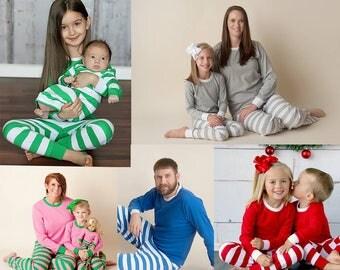 Monogram Christmas Pajama PreOrder, Xmas PJs, Xmas Pajamas, Family Christmas PJs, Christmas in July, Christmas Card Photo, Holiday Pajamas
