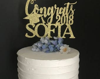 Personalized Graduation Cake Topper, Congrats Grad Cake Topper, Graduation Cake Topper, Custom Graduation Topper,  Class of 2018 Cake Topper